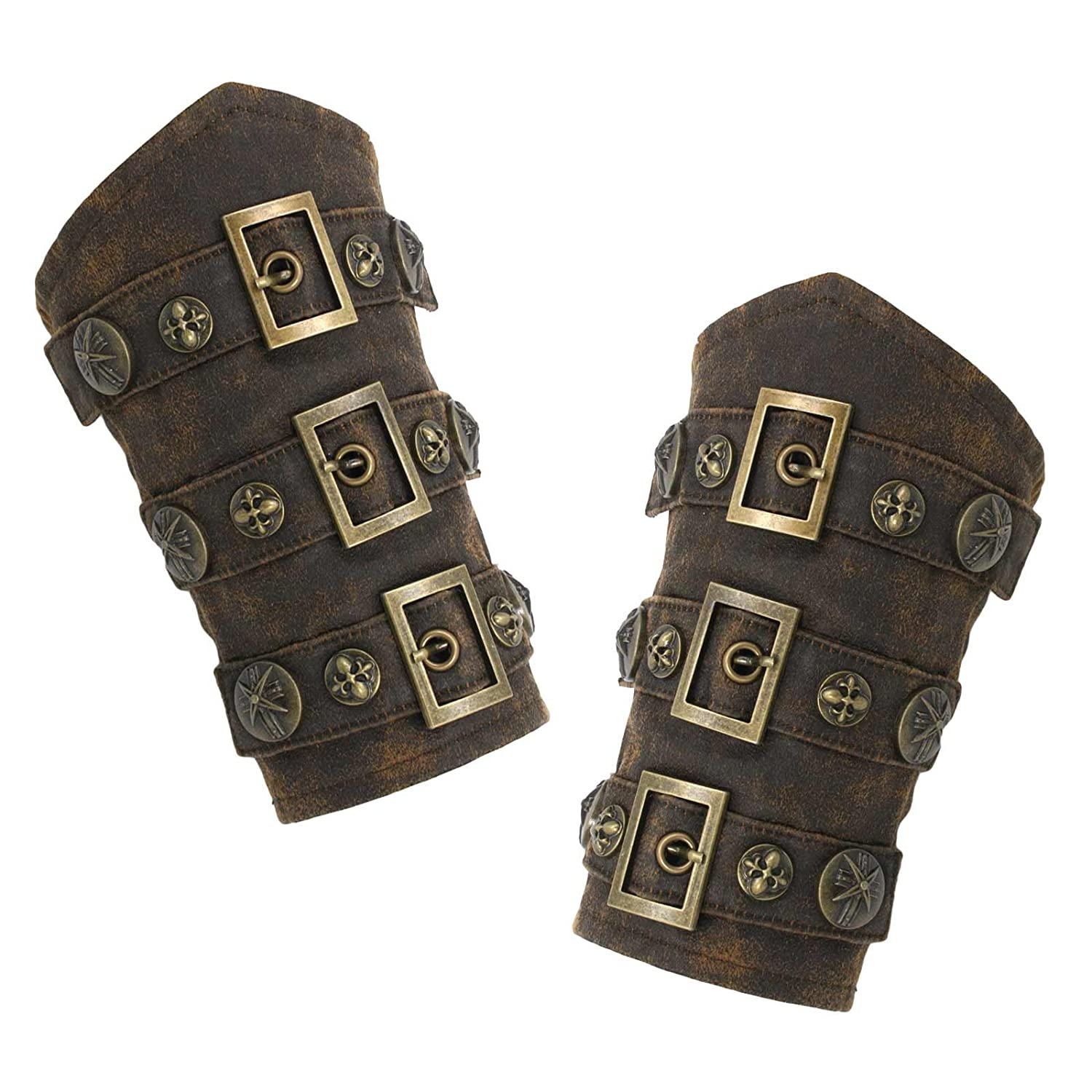 Men's Steampunk Goggles, Guns, Gadgets & Watches Faux Leather Steampunk Armor Cuffs $36.95 AT vintagedancer.com