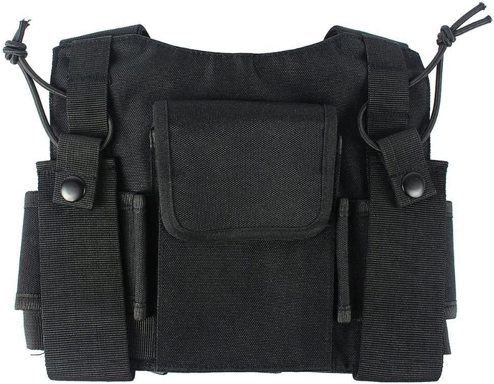 Naliovker Radios Pocket Radio Chest Harness Chest Front Pack Pouch Holster Vest Rig Carry Case for 2 Way Radio Walkie Talkie for UV-5R Black