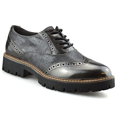 Womens New Casual Flat Office Smart Work Lace Up Oxford Brogue Shoes