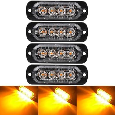 4PCS Ultra Thin Amber 4LEDs Warning Emergency Caution light Flash Strobe Light Bar Surface Mount For Car Van Truck Jeep Pickup,Motorcycle: Automotive