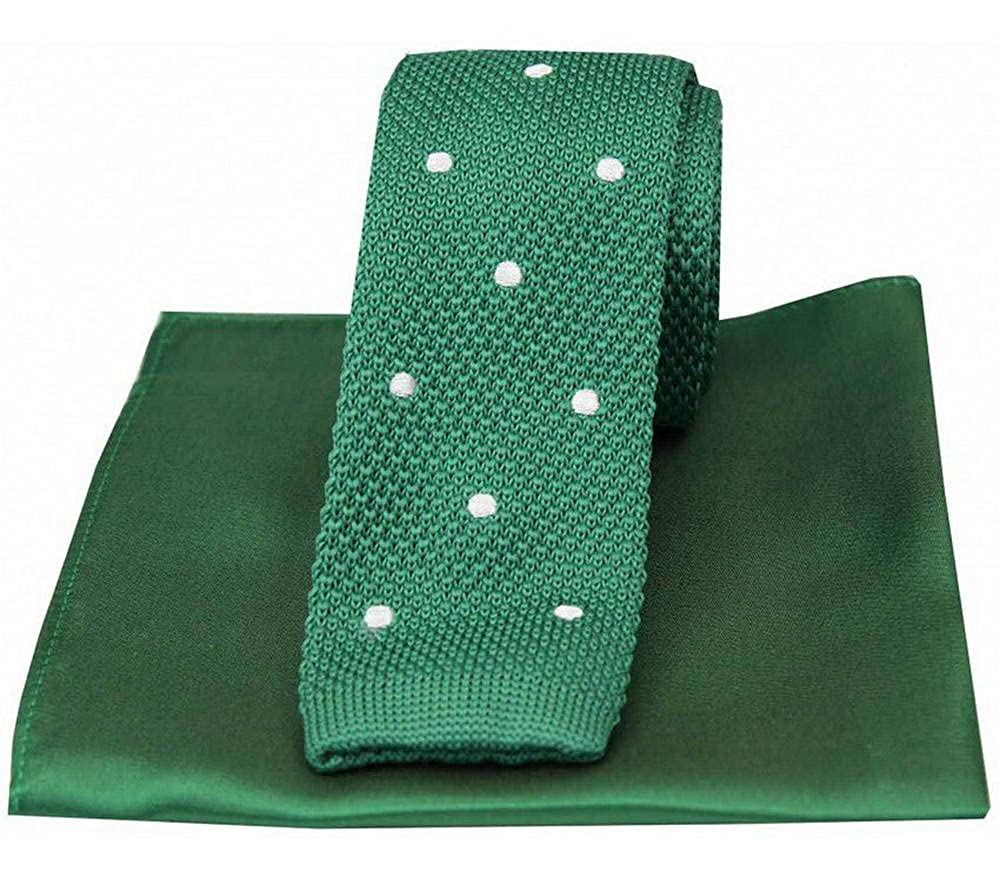 David Van Hagen Mens Spotted Thin Knitted Silk Tie and Plain Handkerchief Set Green//White