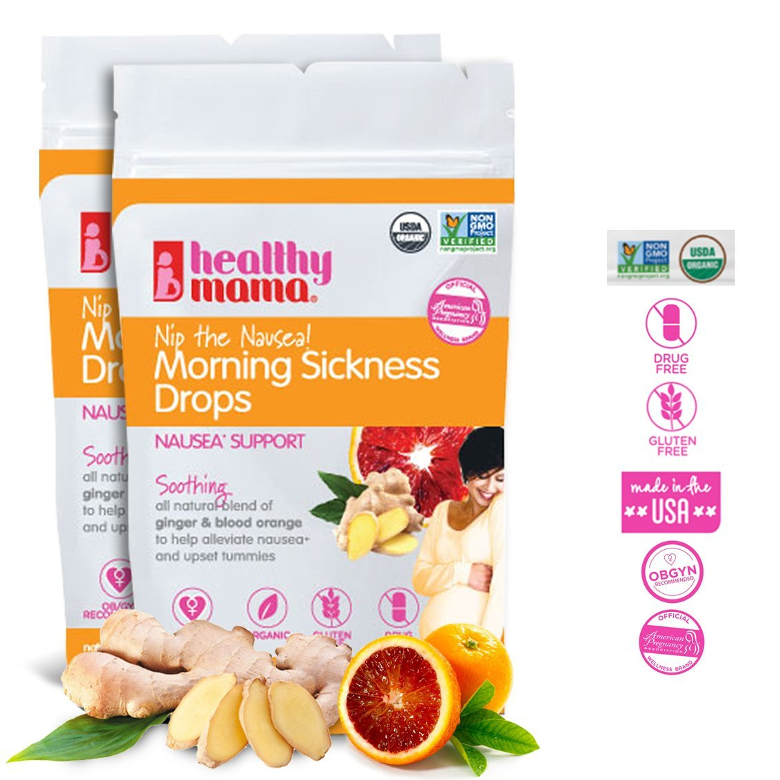 Healthy Mama Morning Sickness Relief Drops Nip the Nausea (2-Pack) Ginger Blood Orange Flavor. OB/GYN Recommended Relief from Morning Sickness, Nausea & Constipation