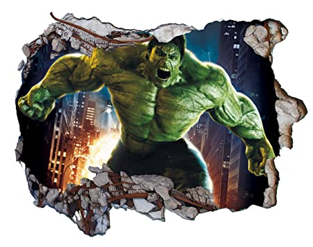 Marvel The Incredible Hulk 3D Wall Crack Wall Smash V0404 Wall ...