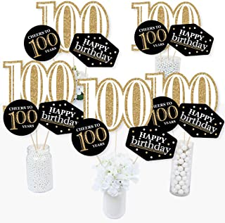 product image for Adult 100th Birthday - Gold - Birthday Party Centerpiece Sticks - Table Toppers - Set of 15