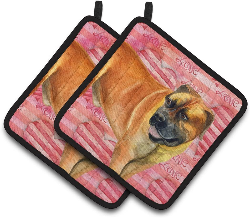 Multicolor Carolines Treasures Alaskan Malamute Hearts Pair of Pot Holders 7.5HX7.5W