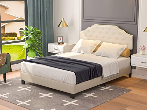mecor Upholstered Linen Queen Platform Bed Frame