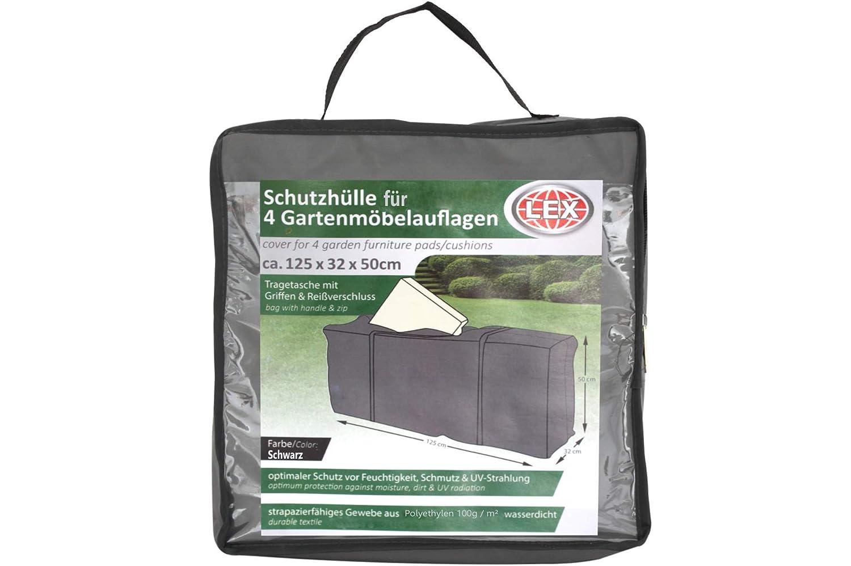 Unbekannt Schutzhülle für 4 Gartenmöbelauflagen anthrazit inkl. Tasche