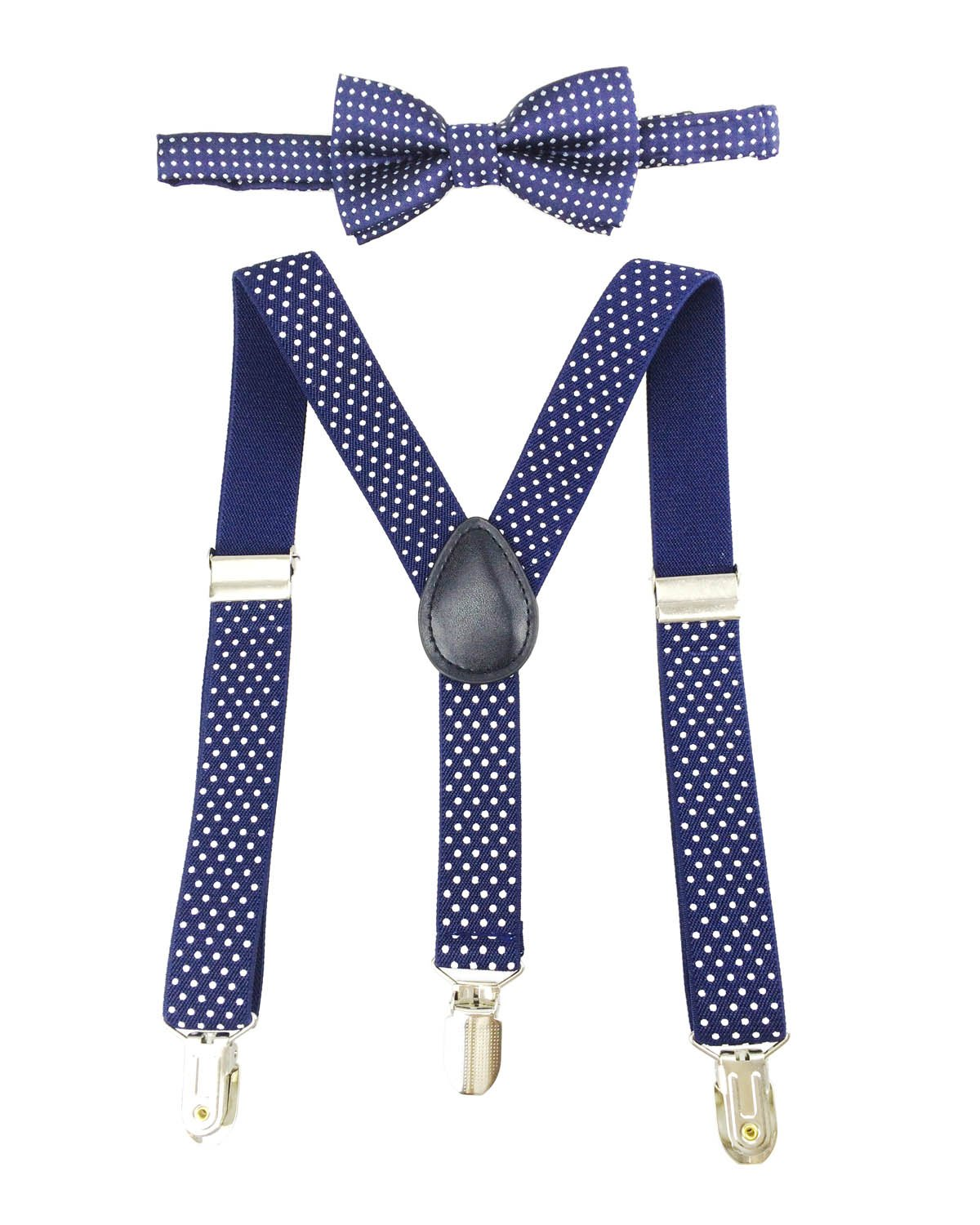 Suspenders for Boys 3 Clip-Ends Y Back Adjustable White Dot with Bowtie Set for Wedding Party (Blue)