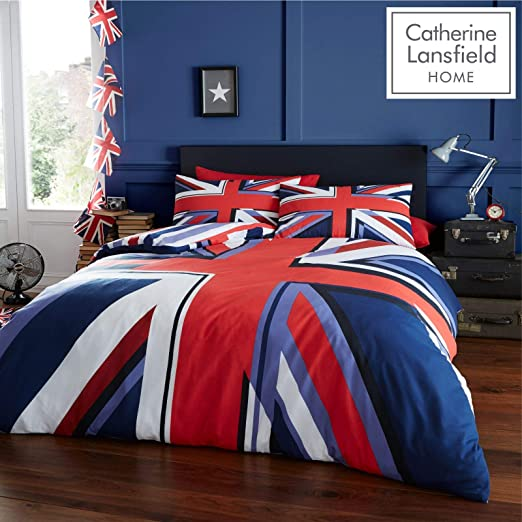 Catherine Lansfield Union Jack Red//White//Blue Flag Quilt//Duvet Cover Set