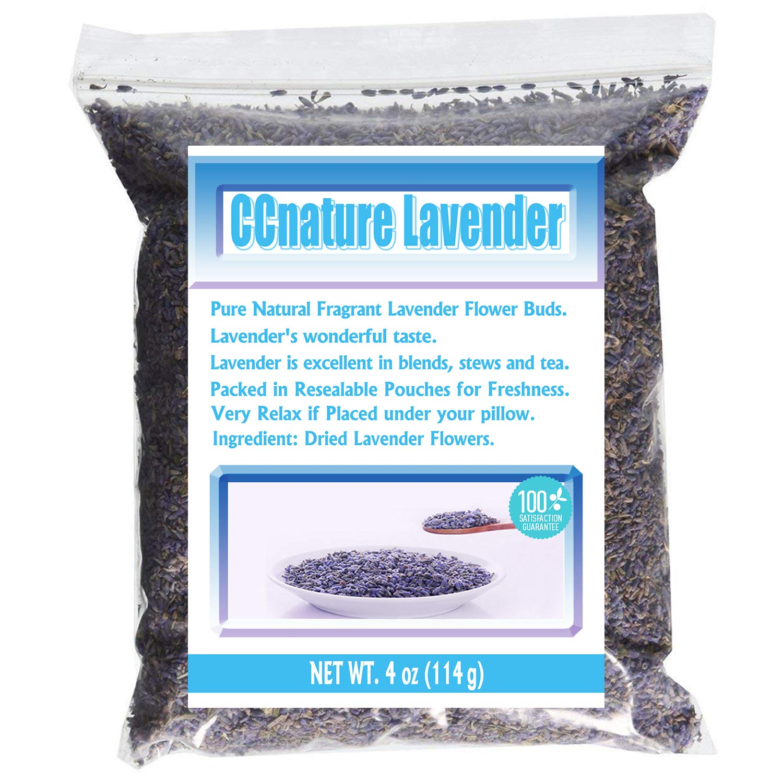 CCnature Lavender Flowers Dried Lavender Buds Culinary Grade 4oz-Perfect for Tea, Lemonade, Soap, Baking, Baths. Fresh Fragrance