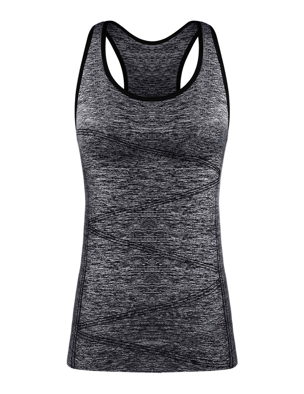 DISBEST Yoga Tank Top, Women's Performance Stretchy Quick Dry Sports Workout Running Top Vest with Removable Pads (Black, X-Large) by DISBEST