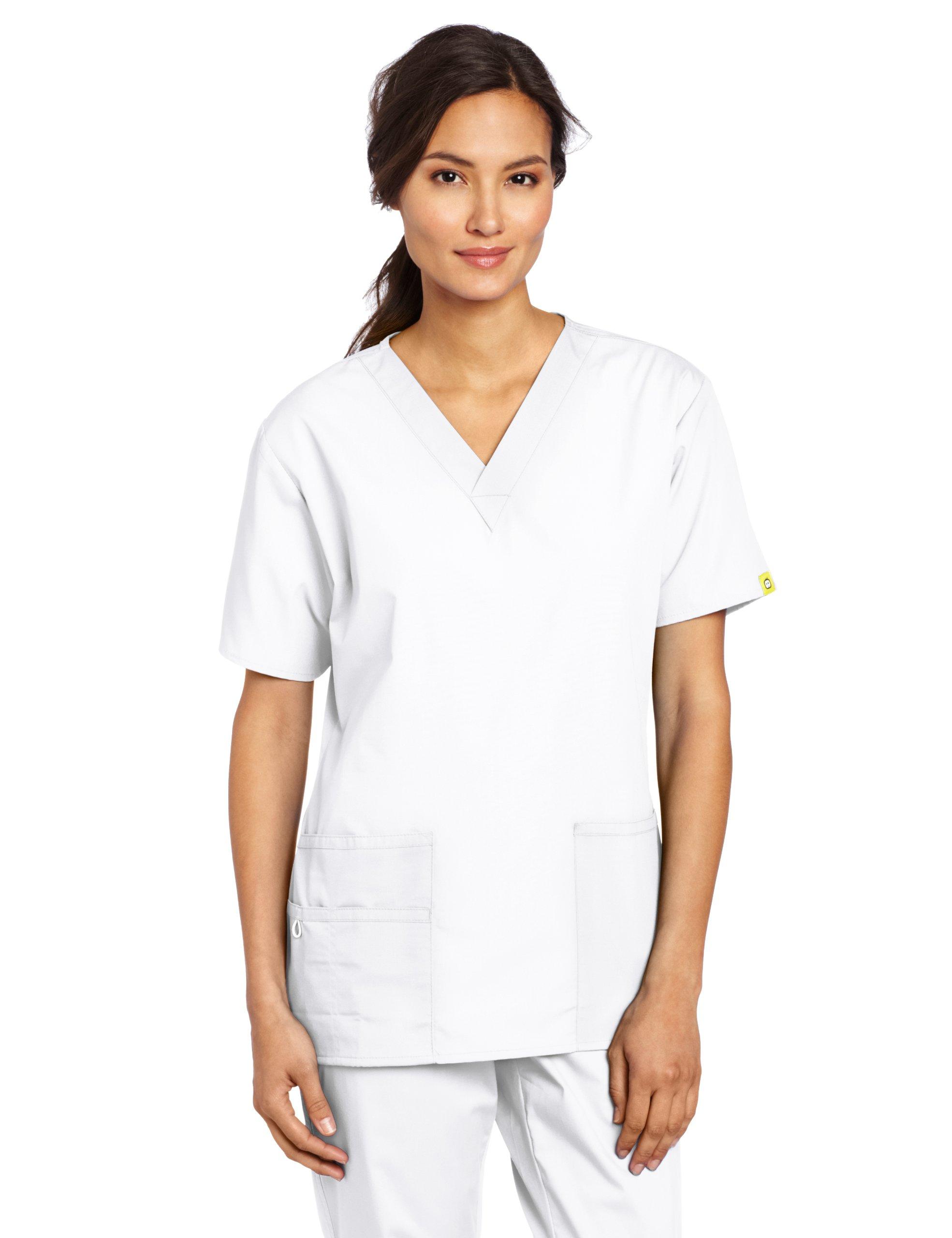 WonderWink Women's Scrubs Bravo 5 Pocket V-Neck Top, White, Large