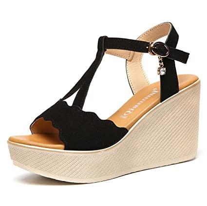6fb521e78d5 DANDANJIE Womens Sandals Summer Gladiator Basic Pump Shoes Wedge Heel Creepers  Peep Toe Buckle For Casual