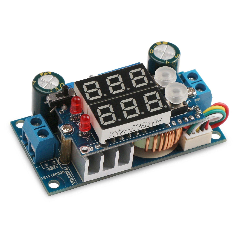 5A Buck Converter, DROK Voltage Regulator Board DC 6-36V Down to 1.25-32V 5A Constant Current Voltage MPPT Solar Controller Module 24v to 12v 5v with LED Display for Charging Battery Car Power Supply