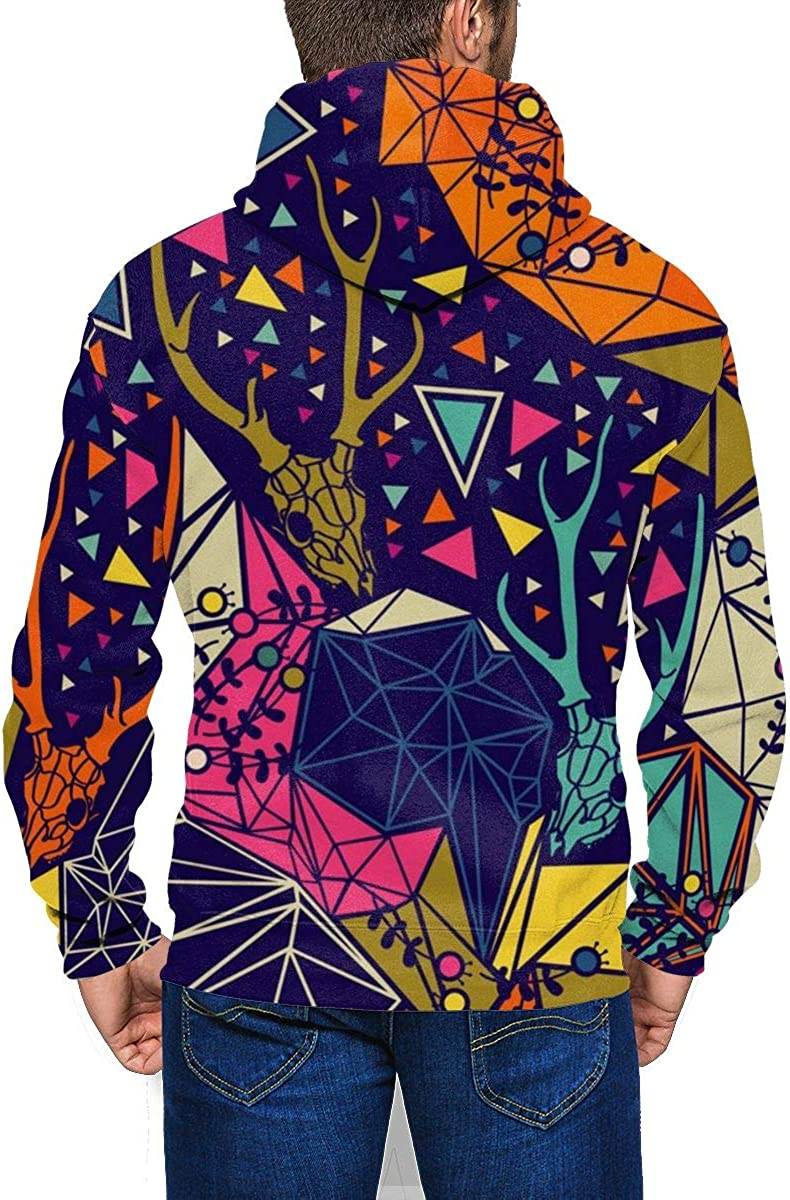 Skull with Floral and Polygonal Ornament Mens Hoodie Midweight Sweatshirt Warm Athletic Pullover Hoodie