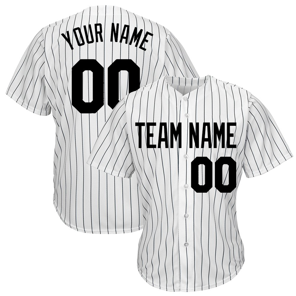 DEHUI Customized Youth White Pinstriped Baseball Jersey with Sewn Team Name Player Name and Numbers,Black Size M by DEHUI