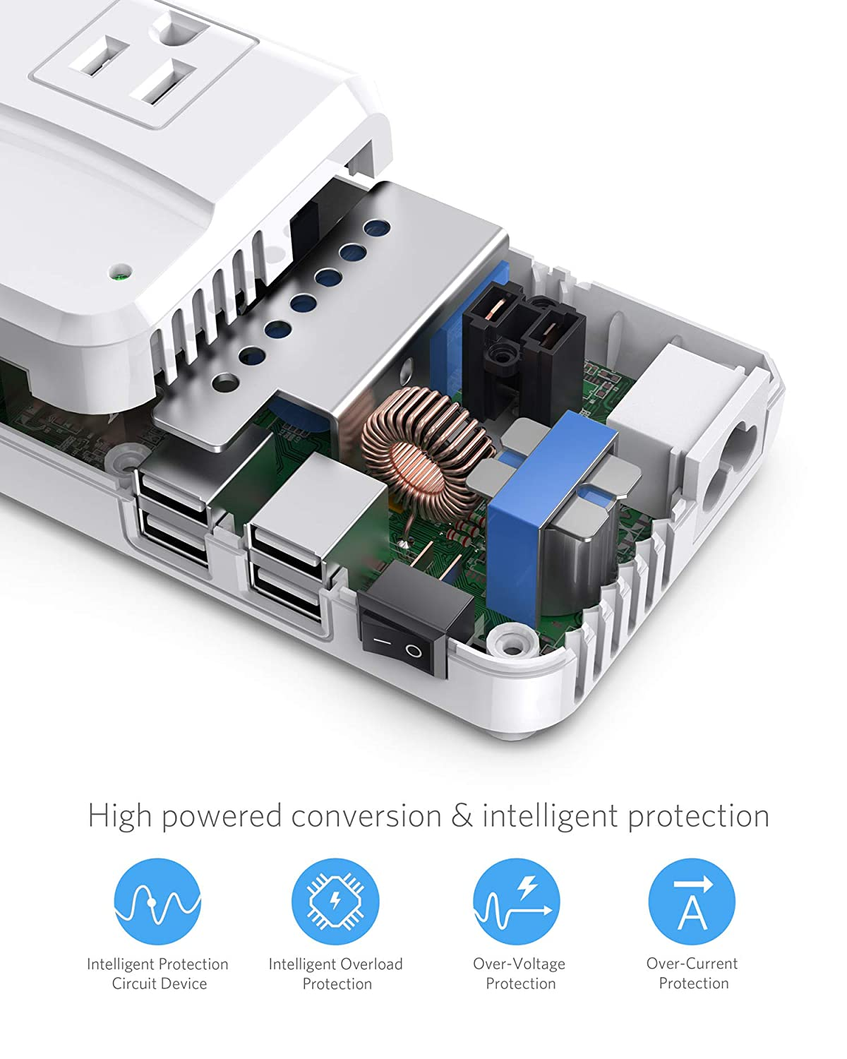 BESTEK Universal Travel Adapter 220V to 110V Voltage Converter with 6A 4-Port USB Charging and UK//in//AU//US Worldwide Plug Adapter White