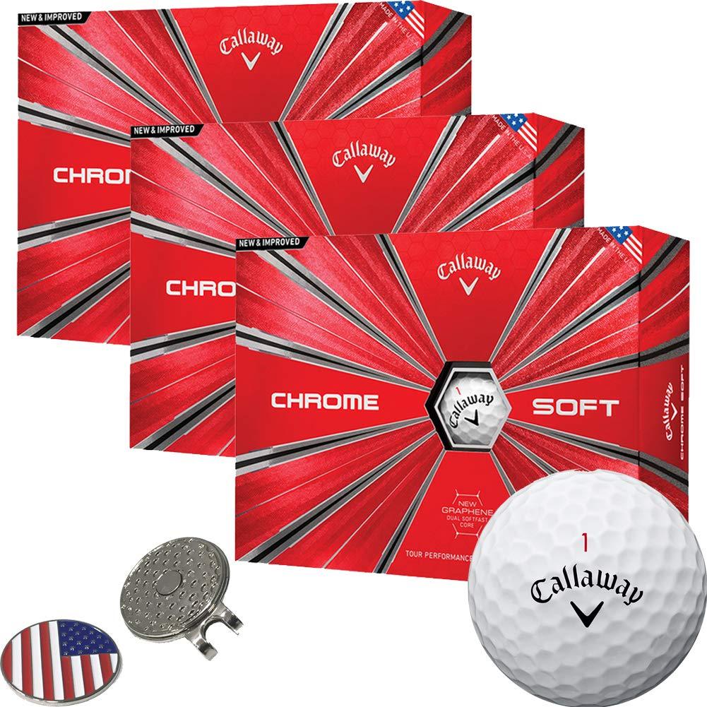 Callaway Golf 2018 Chrome Soft Golf Balls White (3 Dozens) + 1 Custom Ball Marker Clip Set (US Flag)