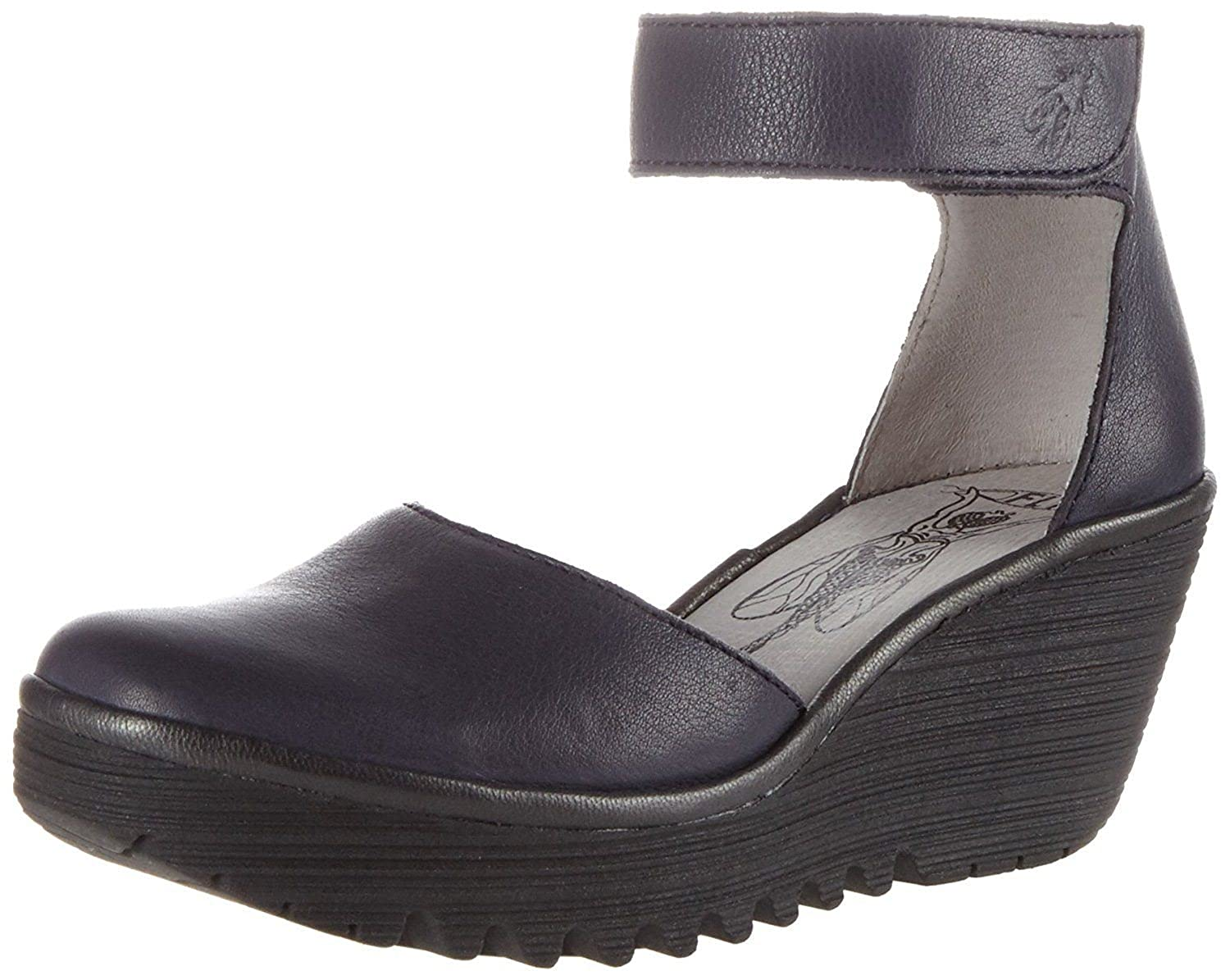 #Fly London Yand709fly Navy Black Womens Leather Wedge Shoes