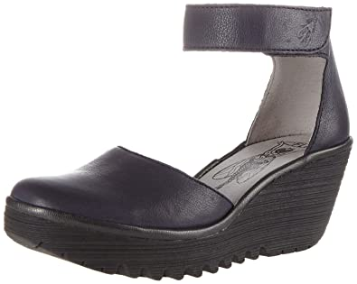 203dab3ff481  Fly London Yand709fly Navy Black Womens Leather Wedge Shoes  Amazon.co.uk   Shoes   Bags