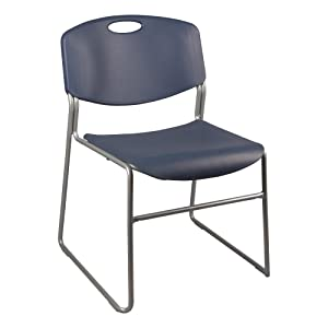 Norwood Commercial Furniture Heavy-Duty Plastic Stacking Chair, Navy Seat w/ Silver Mist Frame, NOR-FEI1059NA-SO (Pack of 4)