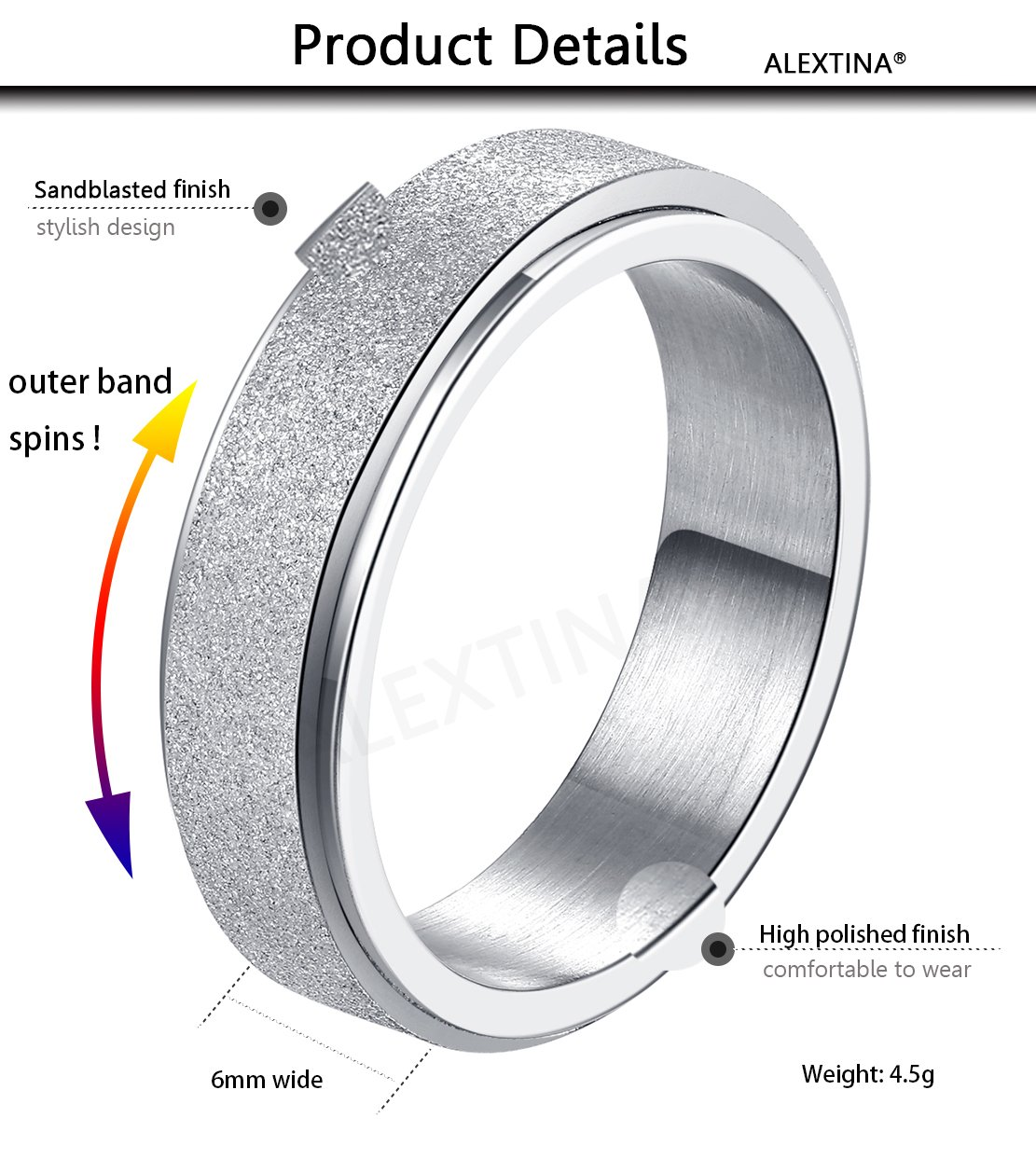 ALEXTINA Women's 6MM Silver Stainless Steel Spinner Ring Sand Blast Finish Comfort Fit Size 9 by ALEXTINA (Image #2)