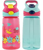 Contigo 14oz Autospout Striker Kids Water Bottle, Cherry Blossom & Aqua Float (2 Pack)