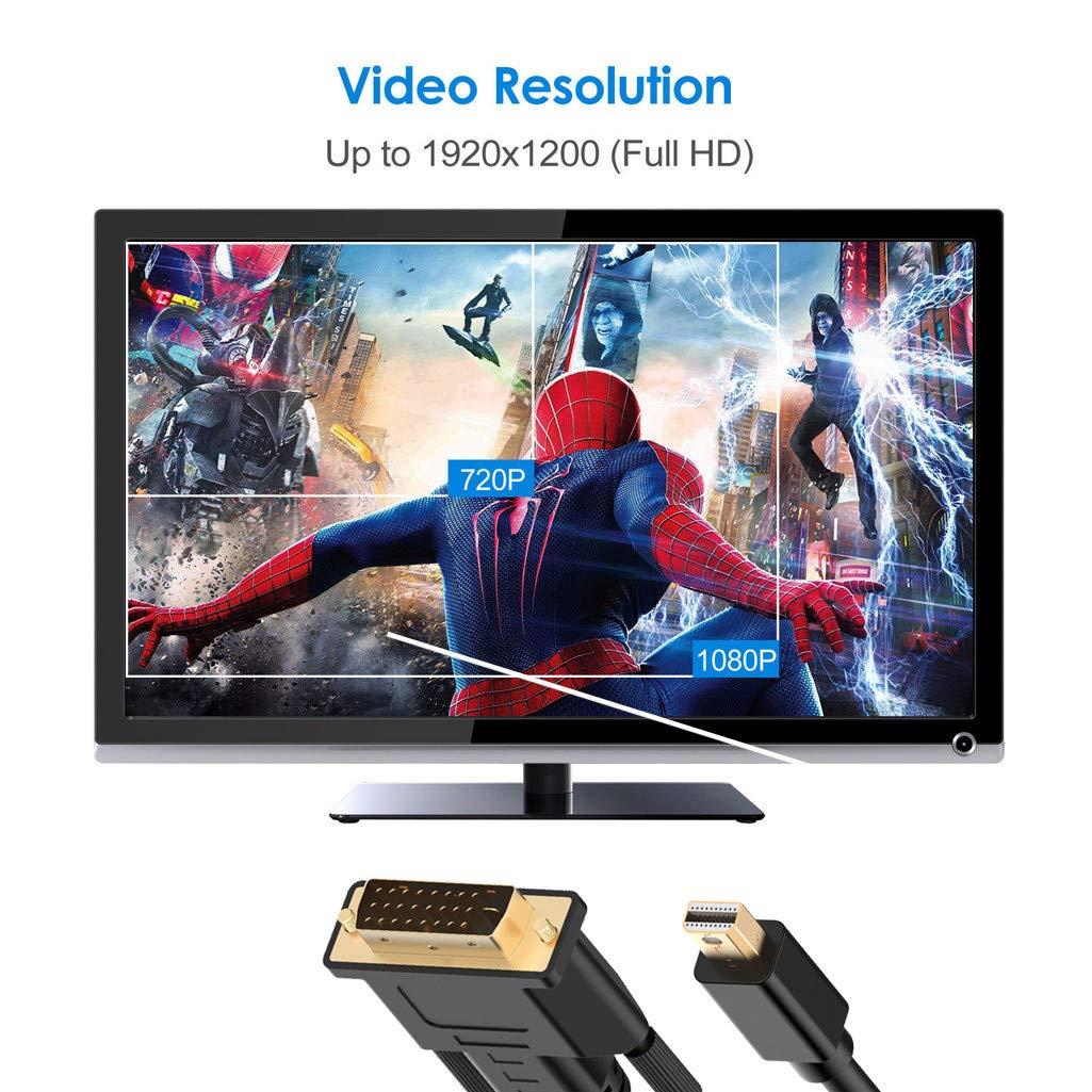 black to DVI Cable Thunderbolt Port Compatible Black 3meters QHJ Mini DisplayPort Mini DP