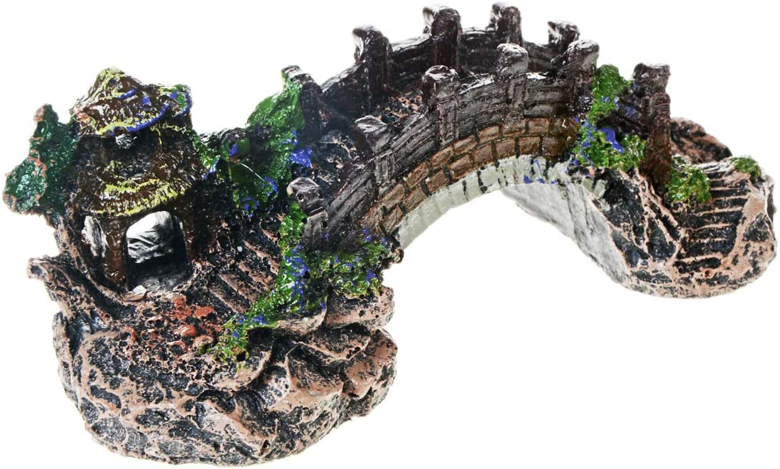 Saim Resin Arch Bridge Pavilion Tree Aquarium Garden Decor Fish Tank Landscape Ornament