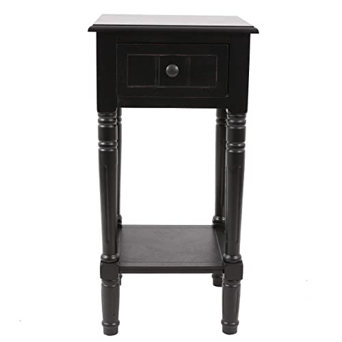 D cor Therapy Simplify Accent Table with Drawer, Black