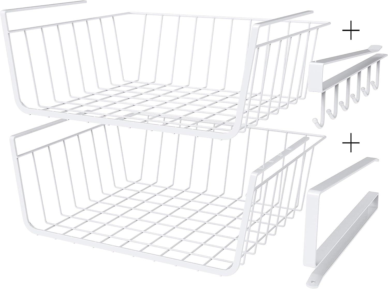 Exclusivo Bolsillo Under Shelf Basket Tackable Hanging Baskets, 2 Pack Wire Rack 4-Piece Set For Kitchen Bathroom Storage&Organization,White
