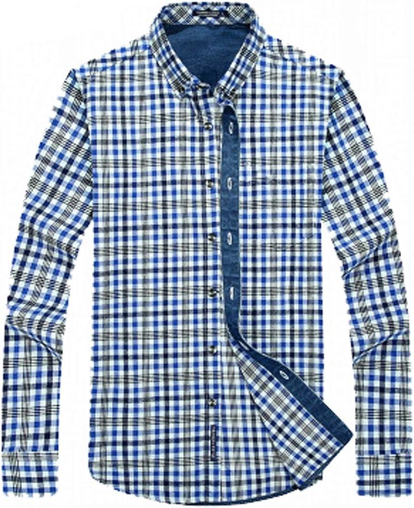 Nuevo botón para Hombre Camisas de Franela Caliente más Gruesa de Terciopelo Tela Escocesa de la Solapa de la Camisa de Manga Larga Regular Fit, Azul, XXL: Amazon.es: Ropa y accesorios