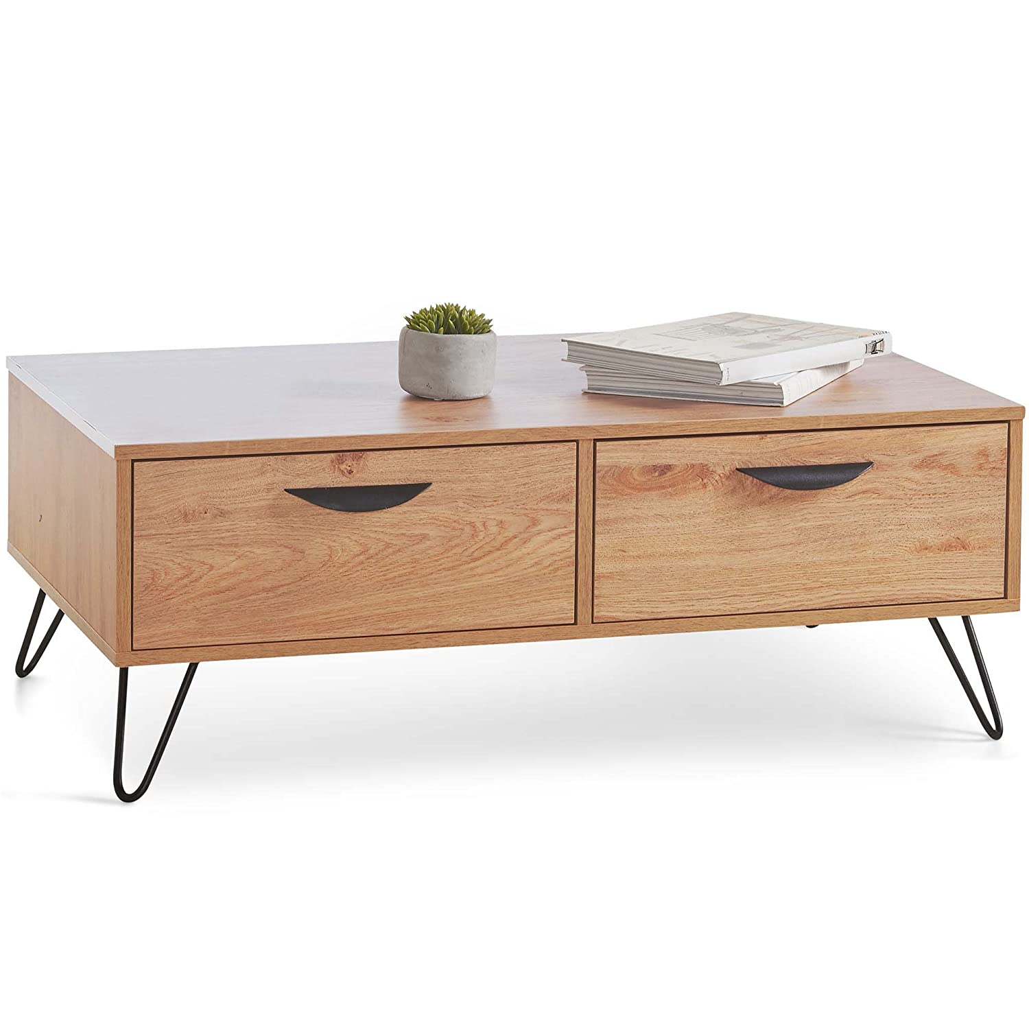 VonHaus Capri Coffee Table with 2 Soft Close Drawers - Oak effect finish with Black Hairpin Legs Retro Style - Vintage Scandi Lounge, Dining or Living Room Furniture