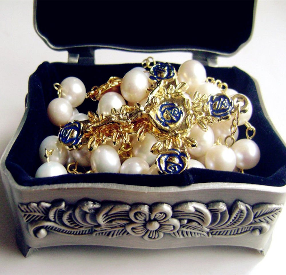 elegantmedical Handmade (AAA 10MM) Real Pearl Beads Catholic Gold Rosary Cross Gift Necklace Supper Box