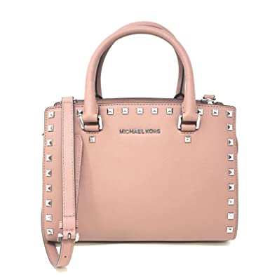 Image Unavailable. Image not available for. Color  Michael Kors - Selma  Stud Saffiano Leather Medium Top Zip Satchel - Pale Pink 552840bc51