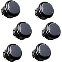 SANWA 6 Piece Original Japan OBSF-30 Push Button 30mm Buttons for Arcade Joystick Controller & Video Game Console (Black…
