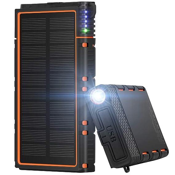 Amazon.com: Cargador solar portátil, 12000 mAh, batería ...