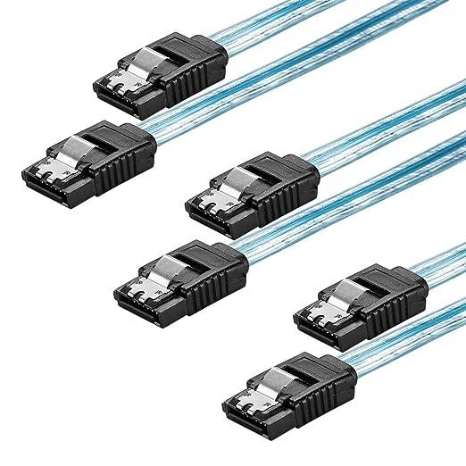 2 opinioni per Zheino 3 Pack SATA III 6Gbps Dritto Cavo dati HDD / SSD con clip 50cm