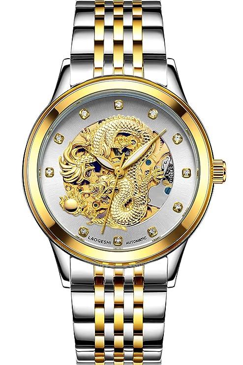 Herren Automatikuhr Skelett Gold Edelstahl Armbanduhr Drache Design Luxus Mechanisch für Männer Beleuchtung