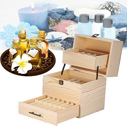 mezcla de aceites aceite Caja de madera de 3 piso aceite esencial Cajas Organizador protege 59 botellas para viajes y presentaciones 8,5 * 7,2 * 9,3 pulgadas: Amazon.es: Belleza