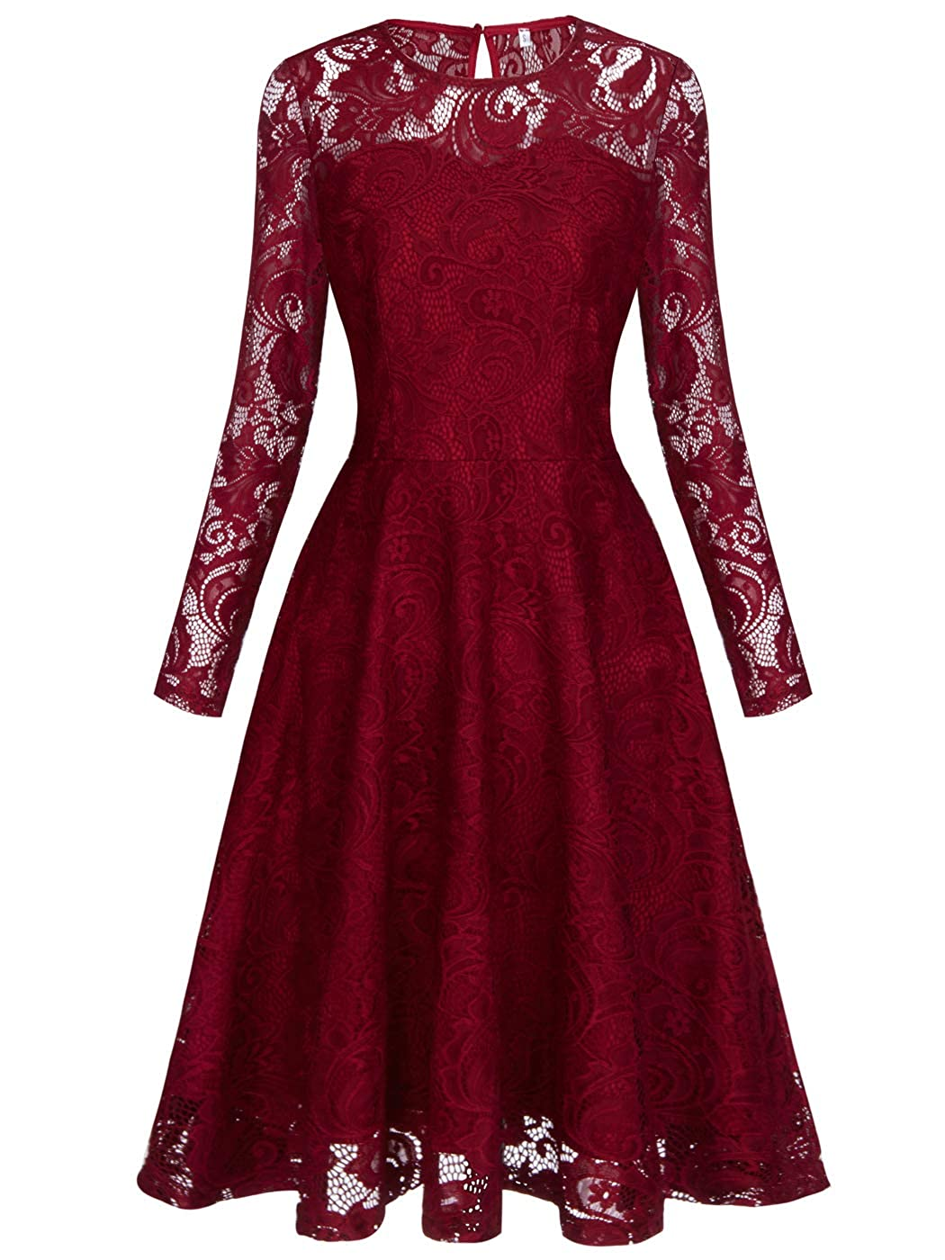 031burgundy FAIRY COUPLE Short Vintage Floral Juniors Lace Dress with Long Sleeve for Party Wedding Cocktail