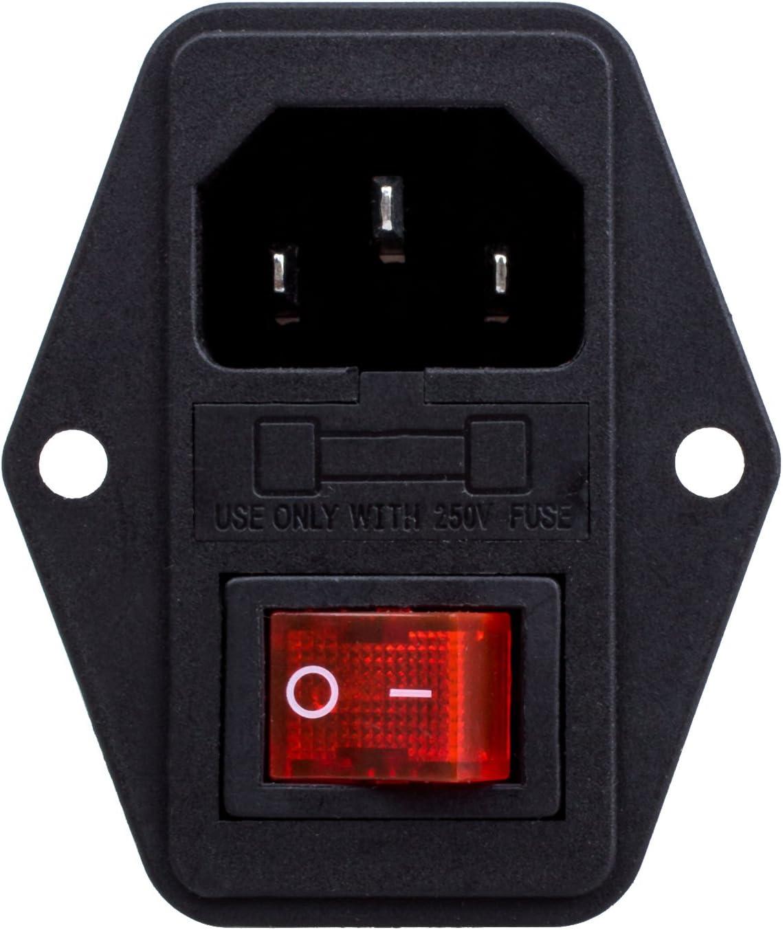 Shumo 3 broches IEC320 C14 interrupteur fusible /& prise dalimentation 10A 250V module dextension