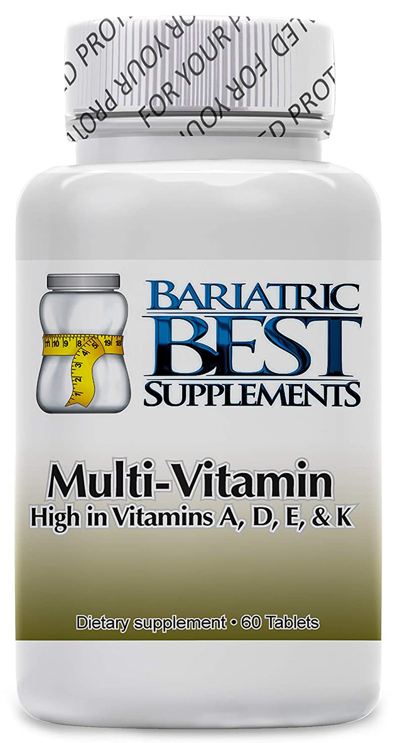 Multivitamin ADEK by Bariatric Best Supplements – 60-Pack Dietary Supplements High in Vitamins A, D, E, and K – Easy to Take – Made in USA Ideal for Bariatric Patients – Fast Absorption