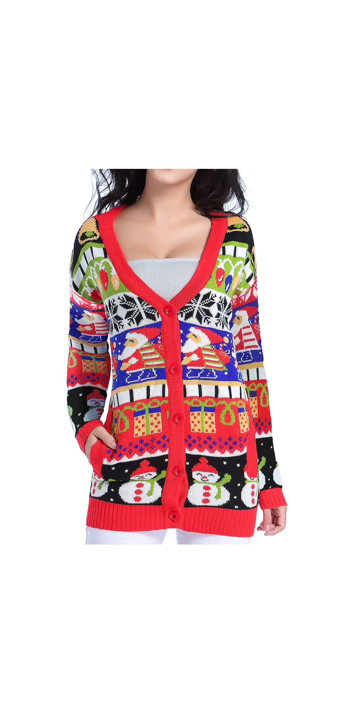 Ugly Christmas Sweater, Women Girl Vintage Knit Xmas Sweater