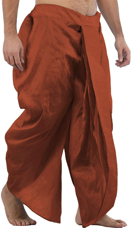 Maenner-Dhoti-Dupion-Silk-Plain-handgefertigt-fuer-Pooja-Casual-Hochzeit-Wear Indexbild 19