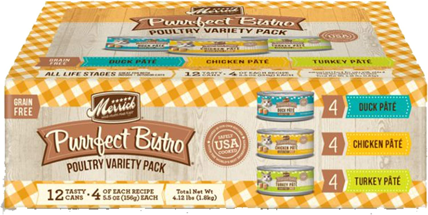 Merrick Purrfect Bistro Grain Free Pate Wet Cat Food Poultry Variety Pack (Case of 12)