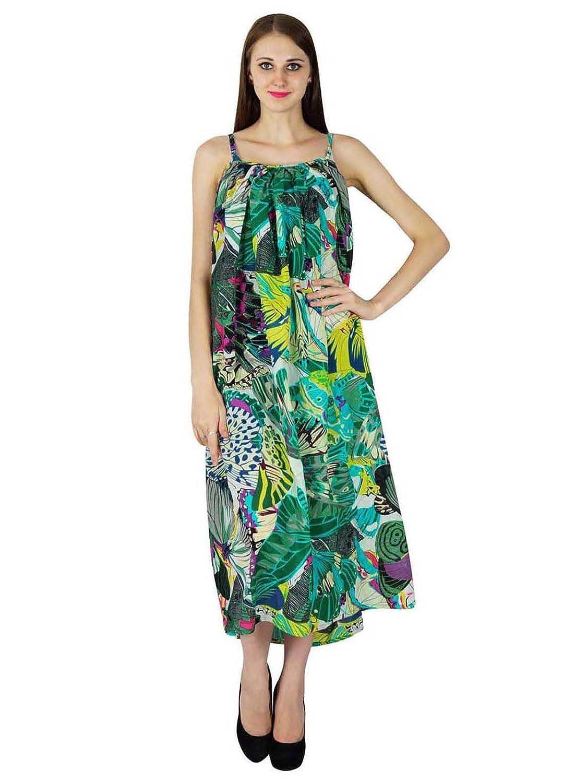 Beiläufige Sommerkleid Aus 100% Baumwolle Schmetterlingsdruck Tunika Neuen Frauen Strand Sundress