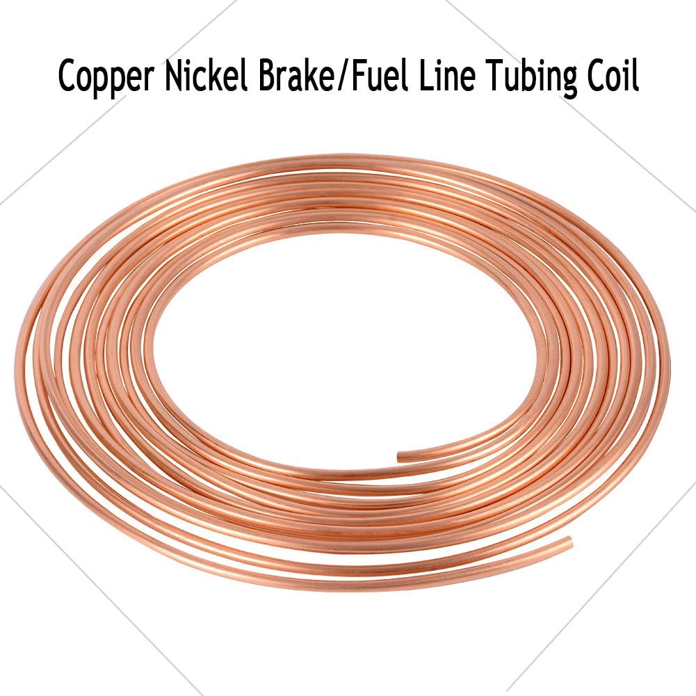 LEDKINGDOMUS 25 Ft Roll Coil of 3//16 OD Copper Nickel Brake Line Tubing Kit with Fittings Gold