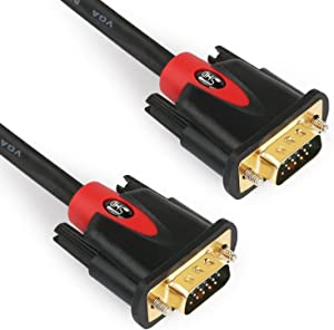 VGA Cable 3Feet,SHD VGA to VGA Monitor Cable HD15 SVGA for PC Laptop TV Porjector Black and Red Color