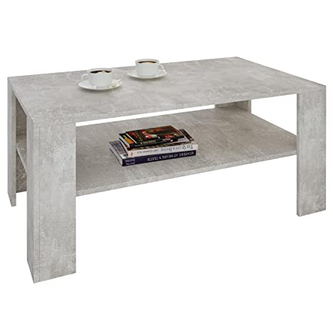 CARO-Möbel Couchtisch Wohnzimmertisch ANIMO in Beton Optik mit Ablage, 100  x 60 cm